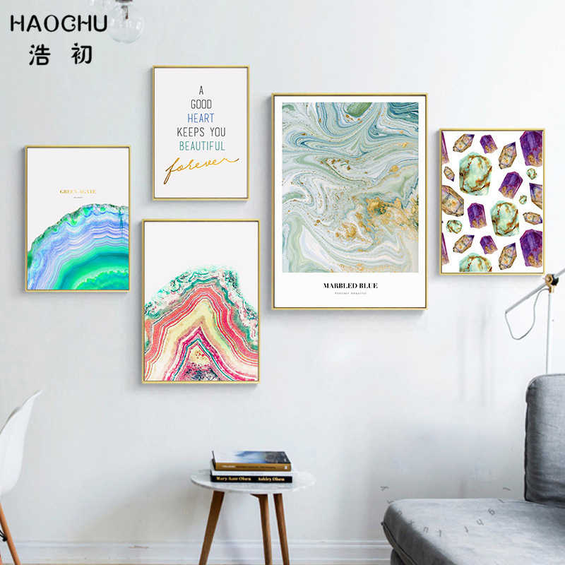 HAOCHU Sapphire Green Agate Abstract Marbled Blue Jewelry Canvas Painting Modular Wall Picture Nordic Home Decor
