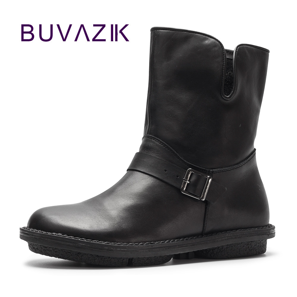 2017 New autumn vintage style genuine Leather Boots women Handmade Retro shoes soft cowhide booties zapatos mujer 2017 new autumn winter british retro men shoes zipper leather breathable sneaker fashion boots men casual shoes handmade