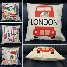 London Style Printed Cushion Cover London Bus Building Pattern Linen Cotton Square Throw Pillows For Sofa Chair Car Home Decor countries national flag pattern linen throw cushion cover for home car office