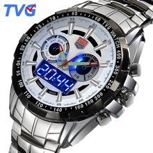 Mens Watches Top Brand Luxury TVG Dual Display LED High Quality Wrist Watch Man Stainless steel Waterproof Relogio Masculino