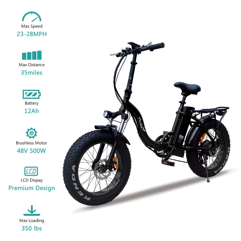 "Vtuvia 20"" inch Fat tire E-bike Lithium Battery Electric Bike 48V 12AH 500W Motor Folding Electric Bicycle with Disc brake"