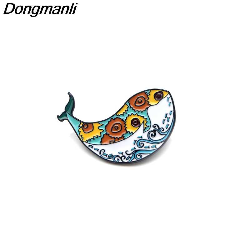 P3091 Dongmanli Cute Whale Art Van Gogh Wave Creative Metal Enamel Pins and Brooches for Women Men Lapel Pin Backpack Hat Badge