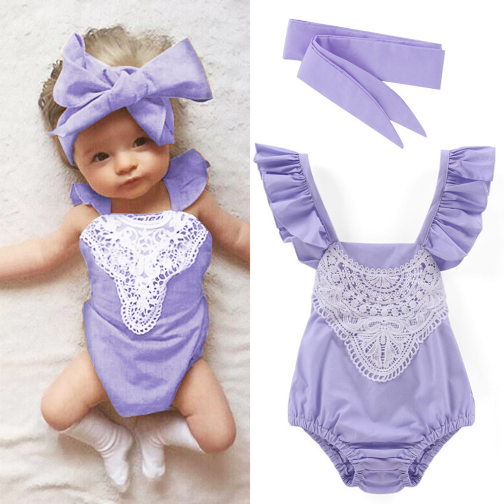 Newborns cotton lace bodysuit fashion kids casual clothes infant princess cool pink purple outwear baby jumpers overall 17A801