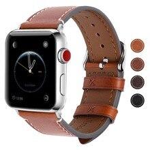 Винтаж Пояса из натуральной кожи Apple Watch полосы 38 мм 40 42 44 мм, аксессуары для часов Ремешок Браслет серии 4/3/2/1