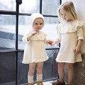 Nova meninas do bebê inverno camisola com chapéu de algodão casuais criança crianças blusas malhas ruffles vestido infantil roupa das crianças