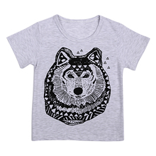 T-shirt For Baby Boy Tops Summer Baby Boy Cotton Soft Cartoon Short Sleeve T-Shirt Top Animal Printed Wolf Grey Breathable Tops