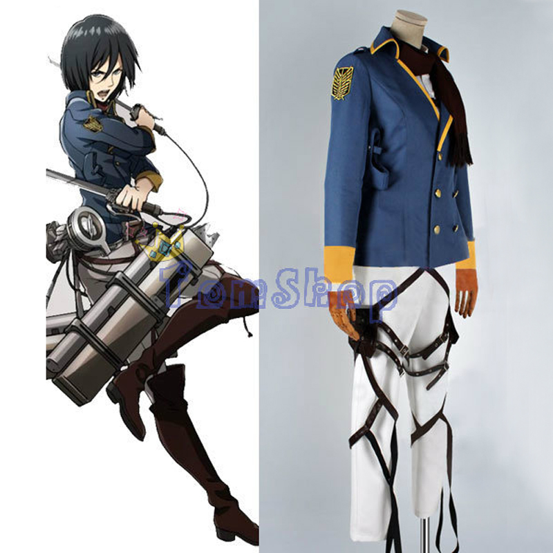 Attack on Titan: The Wings of Counterattack Mikasa Ackerman Cospaly Uniform Full Set Halloween Costumes Custom-made