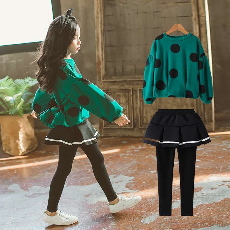 2017 Girls Winter Clothing Set Green Big Polka Dots Childs Outfit for Teens Baby Kids Lukcy Age456789 10 11 12 13 14T Years Old2017 Girls Winter Clothing Set Green Big Polka Dots Childs Outfit for Teens Baby Kids Lukcy Age456789 10 11 12 13 14T Years Old