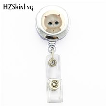 2017 Nuovo Gatto Bianco badge Holder Lovely Cat ID Del Supporto Medico Bagde Bobina di Gatto Bello ID Del Supporto Medico Bagde Bobina(China)