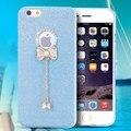 Para o iPhone 6 6 S mulher da menina caso Silicone suave + Bling luxo Dianmond Rhinestone Bow knot feminino à moda tampa do telefone de volta Capa