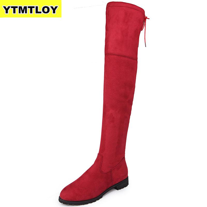 2019 Slim Boots Sexy Over The Knee High Suede Women Snow Boots Women's Fashion Winter Thigh High Boots Shoes Woman  Botas Mujer
