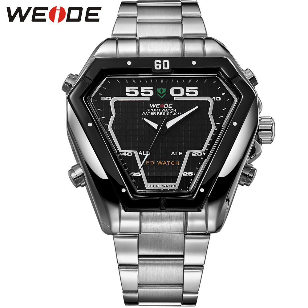 WEIDE Analog Digital Display LED Sport Watch For Men 3ATM Water Resistant Stainless Steel Back Quartz Movement Wristwatches weide irregular men military analog digital led watch 3atm water resistant stainless steel bracelet multifunction sports watches
