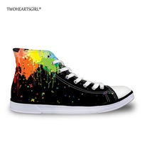 Twoheartsgirl Colorful High Top Canvas Shoes Graffiti Girls Lace Up Shoes Casual Women Vulcanize Shoes Tenis