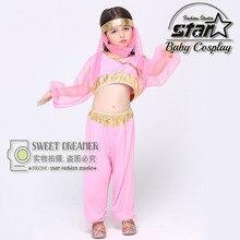 2016 Children Girls Belly Dance Costume Kids Dancing Indian Set Princess Jasmine Halloween Cospaly Costume