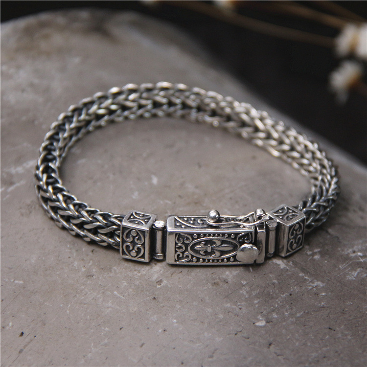 Здесь продается  Bracelet Silver Accessories S925 Silver Fashion Braided Dragon Bones Domineering Bracelet Men