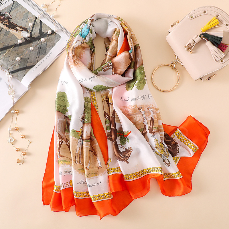 Hot Sale Silk Scarf Thin Wraps Horse Flowers Printed Shawls Fashion Orange Blue Color Head Scarves Hijab Wraps