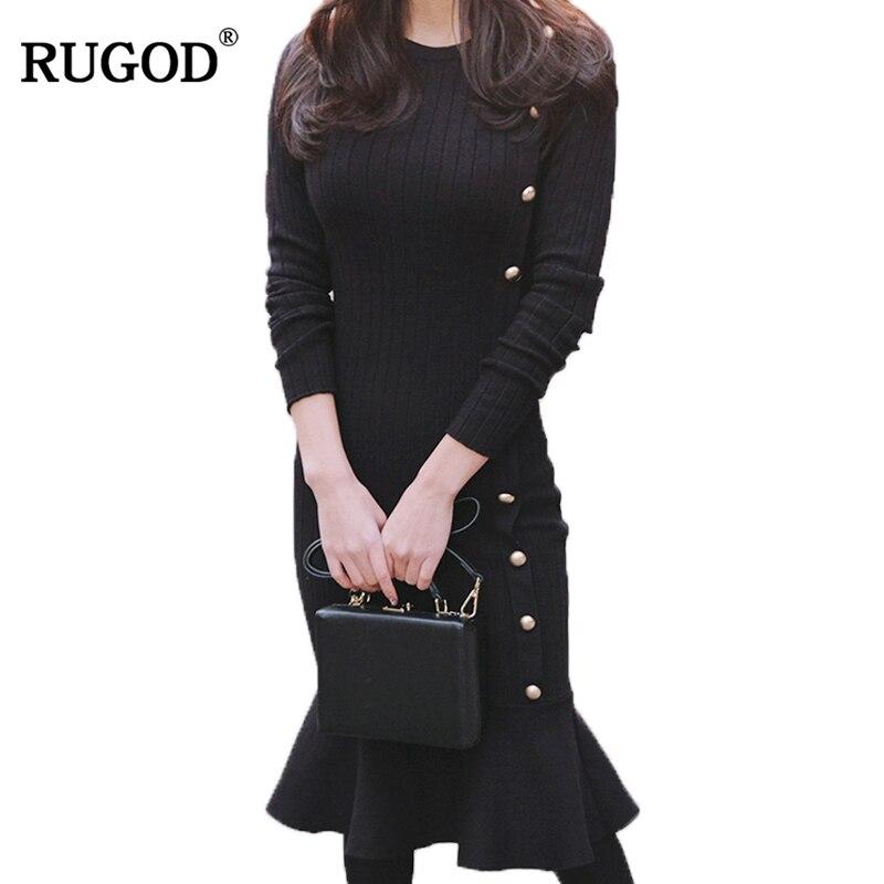 RUGOD 2018 Otoño Invierno vestido mujeres elegante diseño de manga larga vestido de sirena S-4XL Vestidos Slim Robe