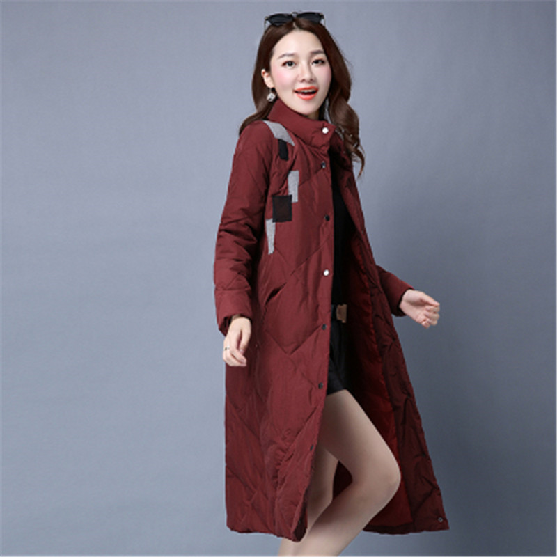 High Quality Winter Women's Cotton-Padded Jacket Coat Stand Collar Warm X-Long Dow coat Female Fashion Slim Parkas Overcoat C247