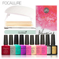 FOCALLURE Soak-off Nail Gel Polish Starter Kit 8 Colors Soak Off Gel Top Base Coat with Sunuv LED UV Lamp for all Nail Gels