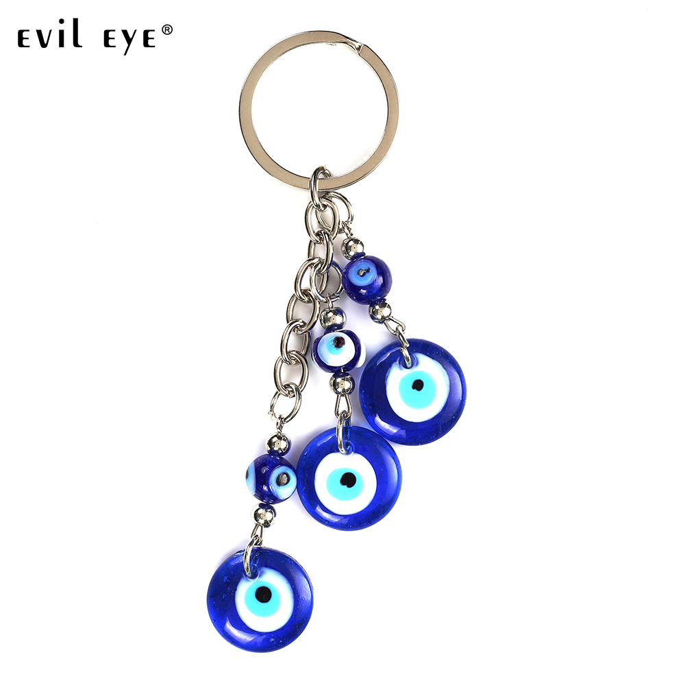 Evil Eye Classic 3 Blue Glass Evil Eye Keychain Pendent High Quality Simple Keyring Jewelry Accessories Wholesale EY5043