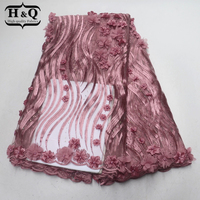 Hot design African Embroider lace fabric 3D applique French tulle lace Stones with Beads Nigeria guipure lace for Normal dresses