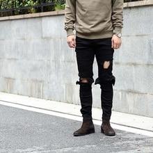 Luxury Brand Men's Denim Trousers Designer Mens Jeans Skinny Water Knee Hole Black Feet Jeans Men Slim Men Ripped Jeans Torn