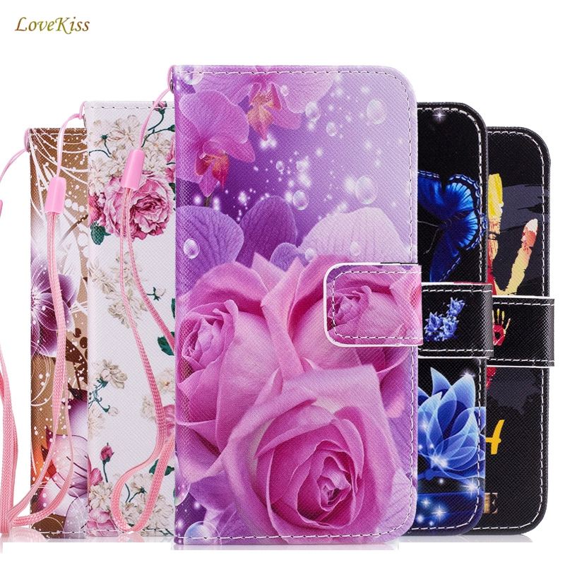 Butterfiy Leather Phone Case Wallet Soft Cover For iPhone 5 5S SE 6 6S 7 8 Plus Bag Shell Capa Flip Stand Book Card Holder Strap
