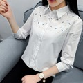 H.SA Women White Blouses Shirts Long Sleeve Spring Embroidery Blouses Mujer Ladies Office Shirt samisa mujer vetement femme 2017