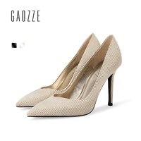 GAOZZE Fashion Striped Cloth Sexy Thin High Heels Pumps Slip On Pointed Toe Wedding Shoes Social Party Shoes 2018 Spring New