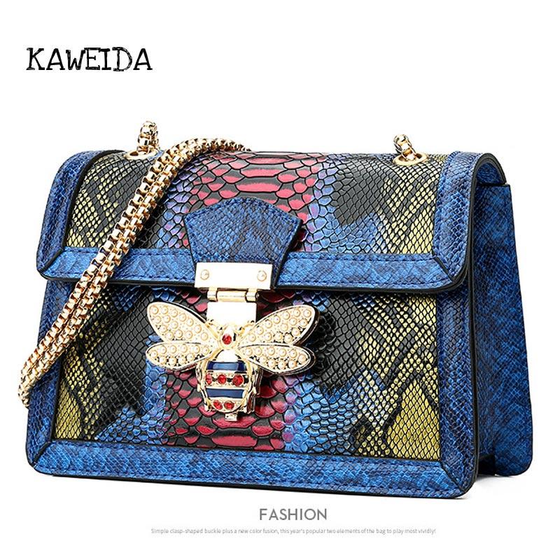 Women's Genuine Leather Messenger Bag Colorful Snake Skin Crossbody Chains Bags with Metal Bee Lock 2019 Luxury Designer Handbag