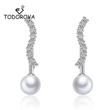Todorova Korean Fashion Cubic Zircon Imitation Pearl Front Back Double Sided Stud Earrings for Women Ear Jackets Piercing Earing