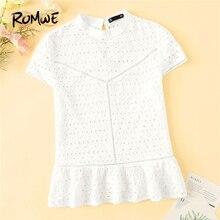 0e6b2c077fd87 ROMWE Mock Neck Lace Insert Eyelet Embroidered Top 2019 White Ruffle Hem  Women Blouse Summer Cap Sleeve Stand Collar Blouse