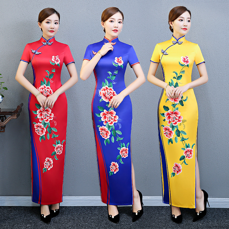 Plus Size 3XL 4XL 5XL Chinese Vintage Printed Lady Qipao Fashion Handmade Button Cheongsam Novelty Chinese Formal Dress