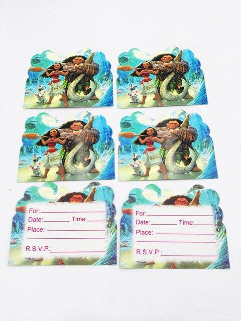 10pcs Lot Moana Paper Invitation Card Kids Birthday Theme Wedding