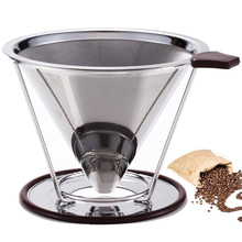 ROKENE Pour Over Coffee Filter Stainless Steel Cone Dripper Paperless Permanent Maker Separate Stand