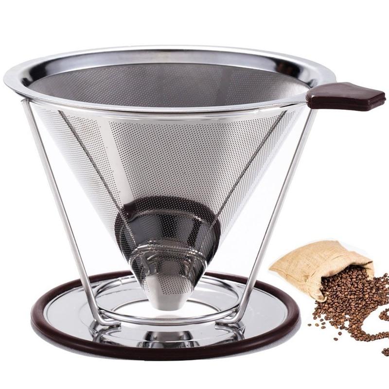 ROKENE verser sur le filtre à café en acier inoxydable cône café goutteur sans papier Permanent verser sur la cafetière Stand séparé