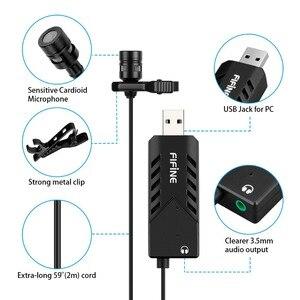 Image 2 - FIFINE Lavalier Clip on kardioidalny komputer pojemnościowy mikrofon plug and play mikrofon USB z kartą dźwiękową na PC i Mac  K053