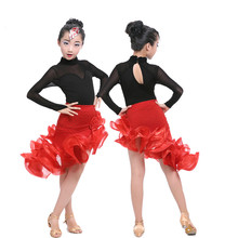Children's Latin Dance Dress Stage Wear Girls Latin Ballroom Dance Costume Performance Competition Junior Tango/Salsa Dress