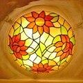Европейский барочный цветок E27 110-240 В пасторальный Потолочный Светильник Тиффани круглый стеклянный абажур lamparas de techo abajur