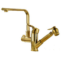 Gold Gun Type Kitchen Faucets Brass Polished Swivel Bathroom Faucet Square Single Handle Pull Out Sink