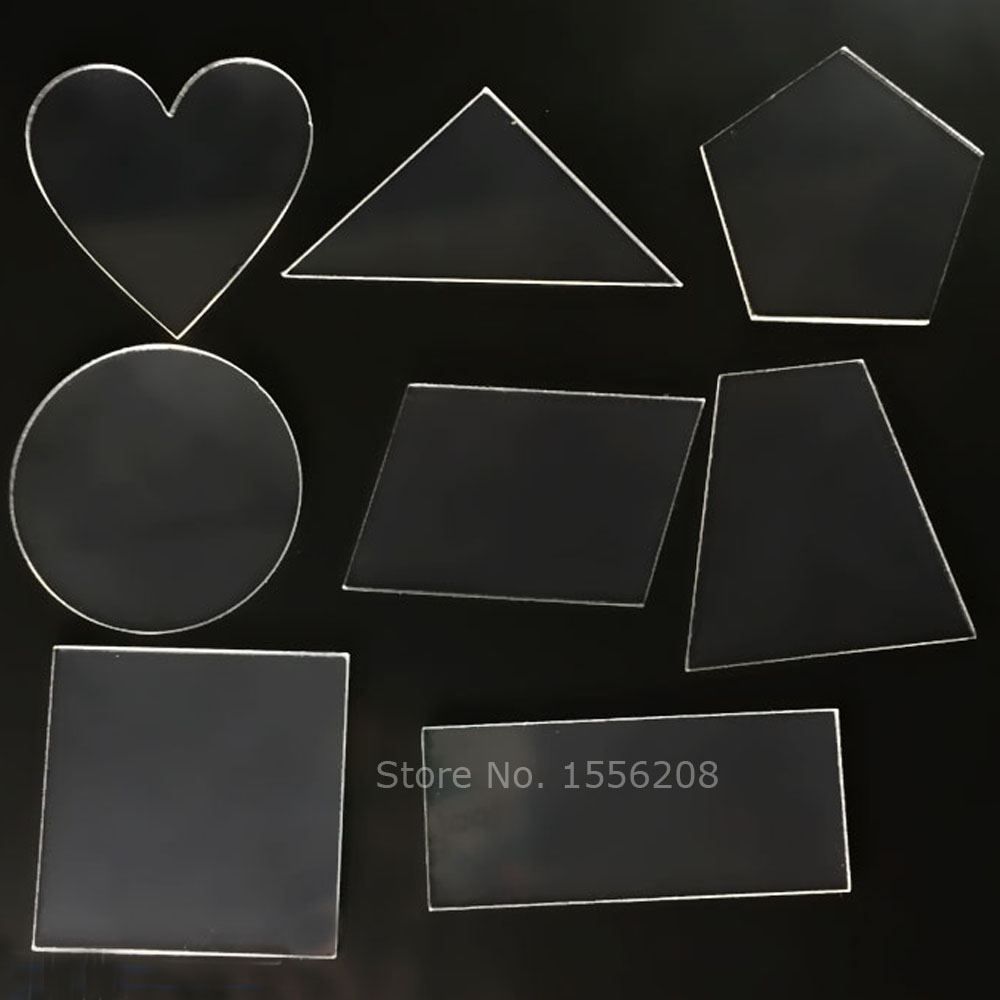 8 Shapes small laser cut clear acrylic blank discs plexiglass beads Circle Square Rectange Accessories Bulk 1/8