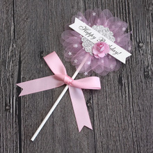 New Arrivals Romantic Pink&Blue Organza Sunflower Cake Topper Kids Happy Birthday Cupcake Party Supplies Decoration