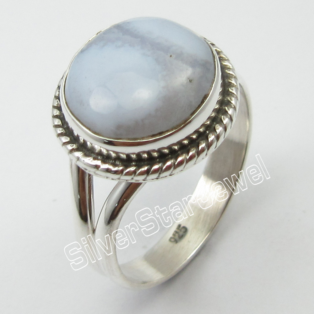 Solid Silver BLUE LACE Agates Ring Size 7.25 ! Cab Stone Jewelry