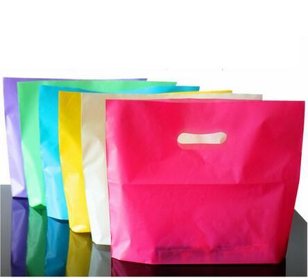 100pcs Small large Plastic Bag Purple red Jewelry Boutique Gift Bag With Handle Plastic Shopping Bag And gift Packaging ba