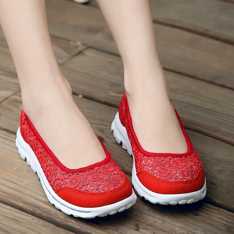 COOTELILI Vrouwen Sneakers Platform Casual Schoenen Vrouw Flats Slip op Lace Instappers Dames Zwart Grijs Rood Plus Size 40 41 42
