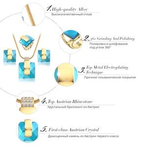 Image 4 - Viennis złoty kolor niebieski kamień kwadratowy Rhinestone kolczyki naszyjnik zestaw biżuterii wesele nowe kobiety biżuteria