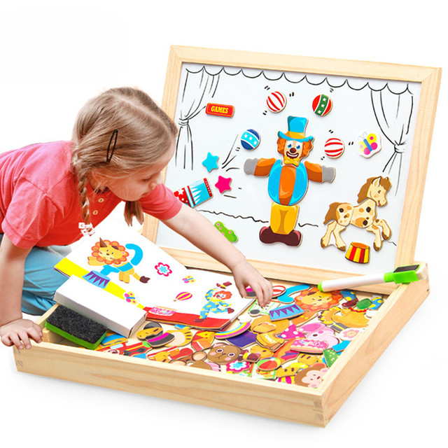 100 PCS Montessori Wooden Magnetic Puzzle Figure Animals Vehicle Circus Drawing Board Educational Toy for Children