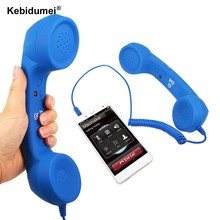 Promotion 3.5mm Retro Telephone Handset Radiation-proof adjustable tone Cell Phone Receiver Microphone Earphone for iPhone(China)