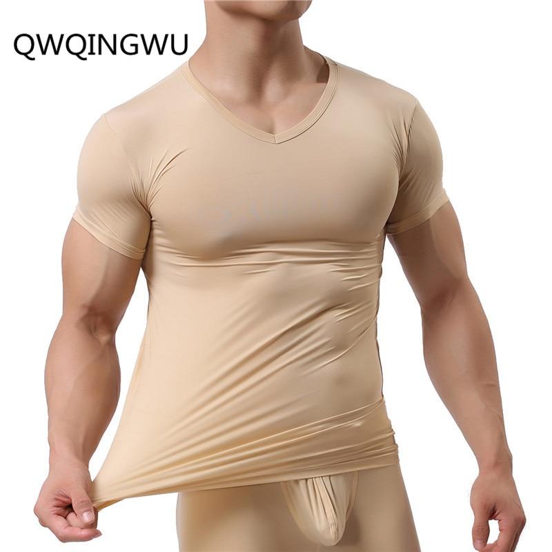 Man Undershirt Ice Silk Spandex Sheer T Shirts Male Nylon V-neck Short Sleeves Tops Ultra-thin Cool Thermal Sleepwear Undershirt