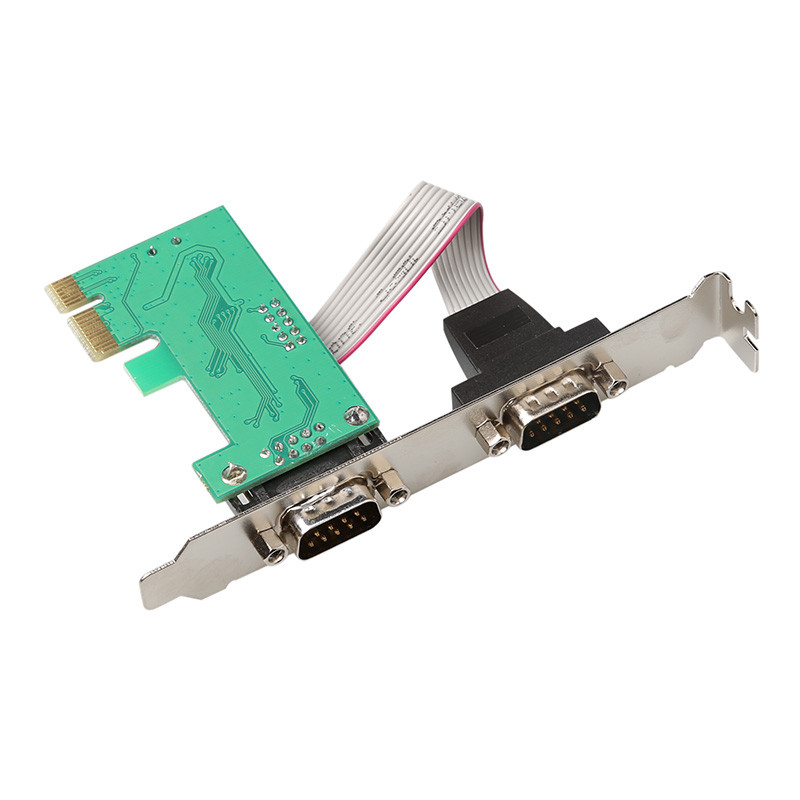 PCI-E Express Dual 2 Ports DB9 RS232 Serial Controller Card Adapter US Stock